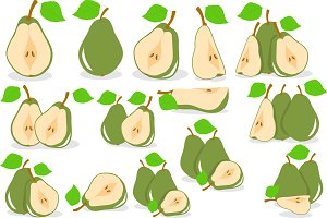 Green pears vector illustration