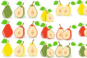 Set of pears, vector illustration