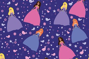 Pattern with princess for girl