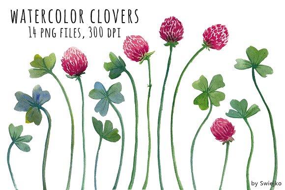 Watercolor Clipart, Clover ~ Illustrations ~ Creative Market