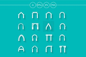 Archway flat silhouette vector icons