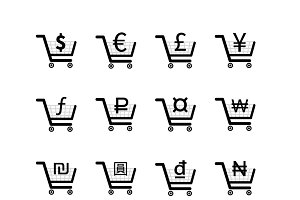 Shopping carts with currency signs