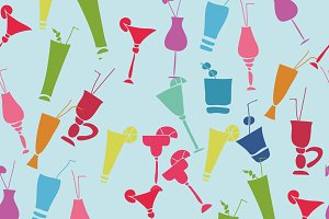Seamless pattern with cocktail