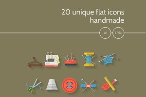 Flat color sewing vector icons