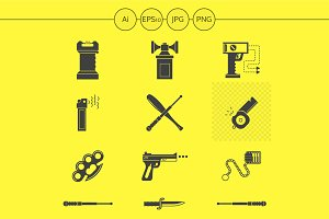 Self-defense accessories icons
