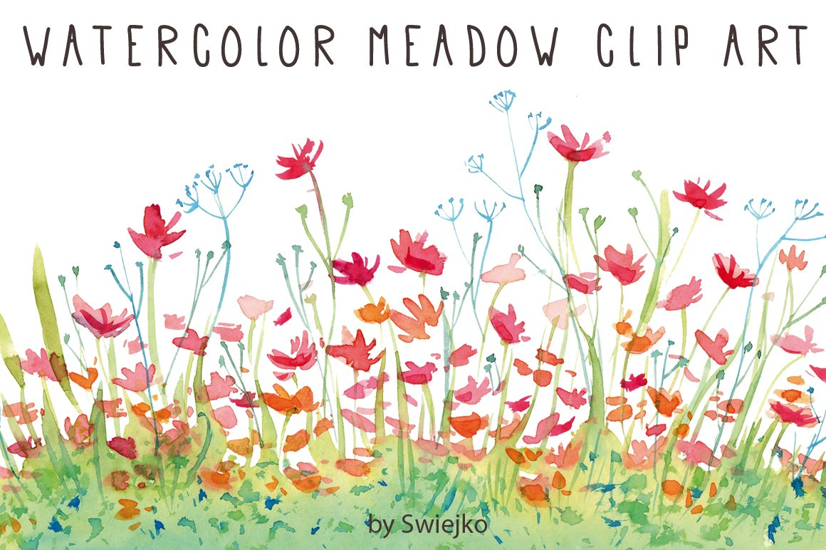 Watercolor Clip Art, Flowers ~ Illustrations ~ Creative Market