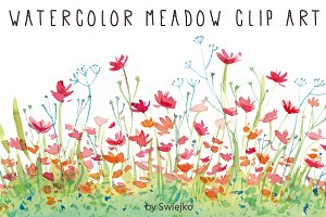 Watercolor Clip Art, Flowers