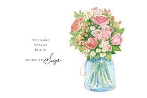 Watercolor Bouquet, Flowers