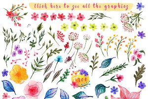 Spring summer design kit watercolor