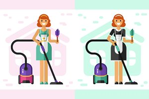 Housewife & French Maid Vector