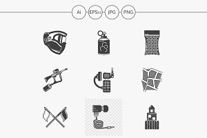 Paintball black design icons. Set 2