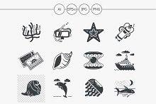 Diving black design icons. Set 2