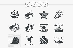 Diving black design icons. Set 2