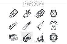 Diving black design icons. Set 3