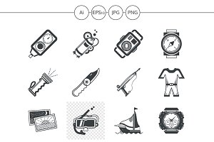 Diving black design icons. Set 3
