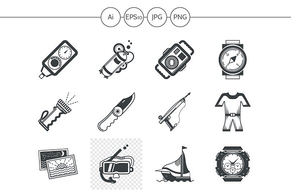 Diving black design icons. Set 3 - Icons