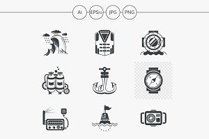 Diving black design icons. Set 4