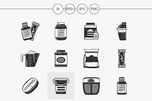 Sport supplements black design icons