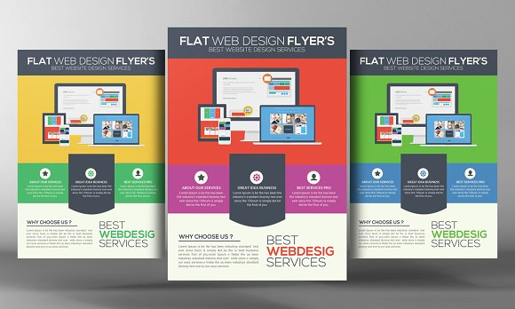 flat website design flyer template flyer templates on creative market. Black Bedroom Furniture Sets. Home Design Ideas