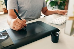 Graphic designer using digital table