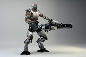 Retro-Futuristic Mechborg & Minigun