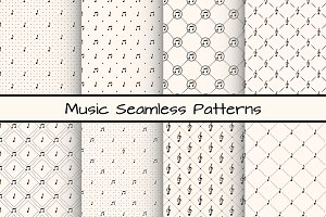 Set of 8 Music Seamless Patterns