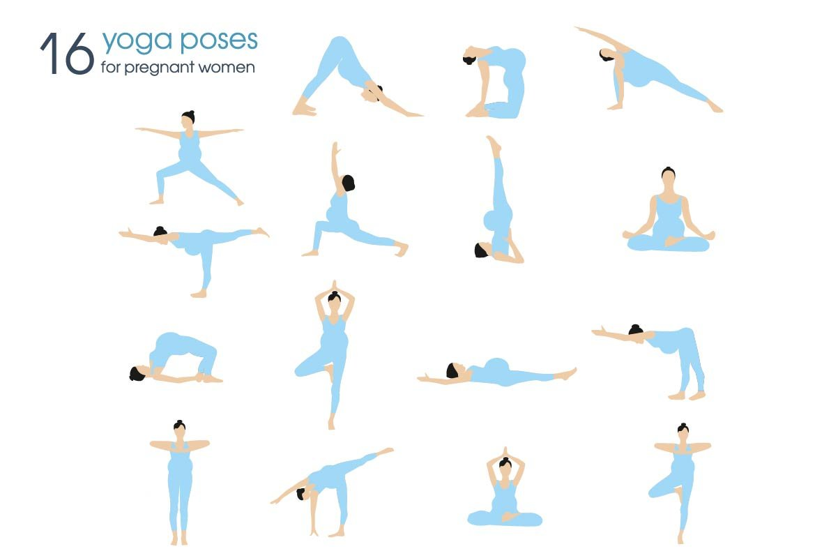 Yoga poses for pregnant women ~ Illustrations ~ Creative ...  Yoga poses for ...