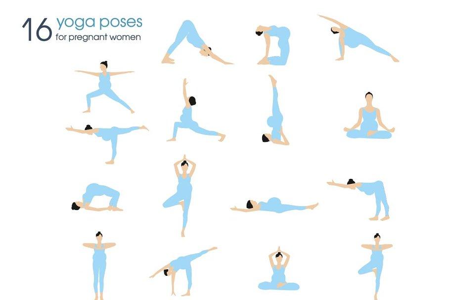 Yoga Poses For Pregnant Women Pre Designed Illustrator Graphics Creative Market