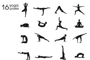 Yoga postures female silhouettes