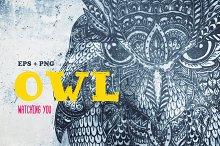 Hand-drawn owl, zenart