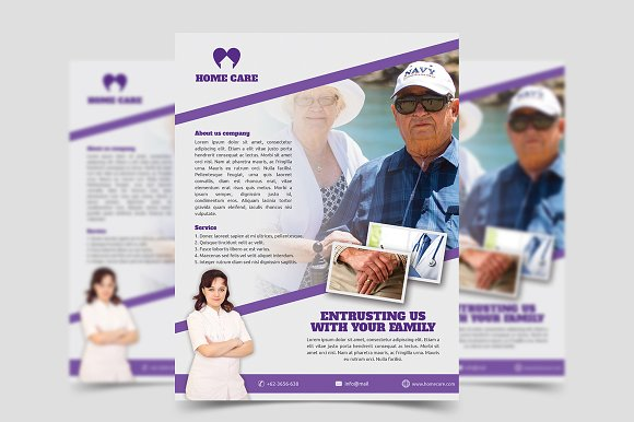 Home Care Flyer Template Flyer Templates Creative Market - Home care brochure template