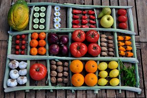 fruits, vegetables, nuts, almonds