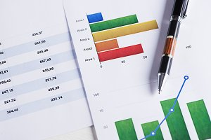 Finance color graphics with a pen