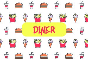 Diner icon pattern