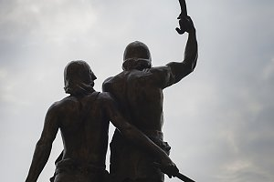 Statue of two warriors in Lleida