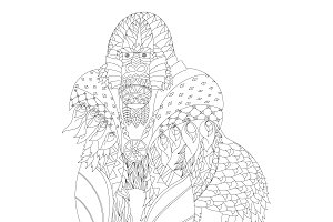 Zentangle inspired patterned gorilla