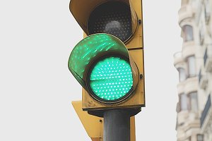 Traffic light in the foreground