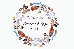 Watercolor Feathers & Eggs Clip Art