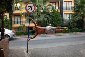 Human Flag on the street
