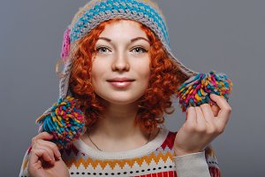 Girl in knitted cap