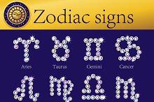 Full set of shining Zodiac signs
