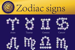 Full set of shining Zodiac signs