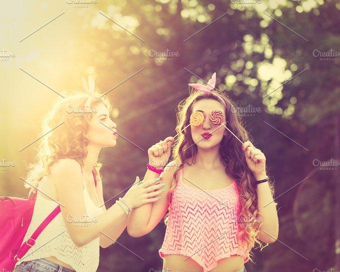 Best girlfriends lollipops. Sunset. - Food & Drink