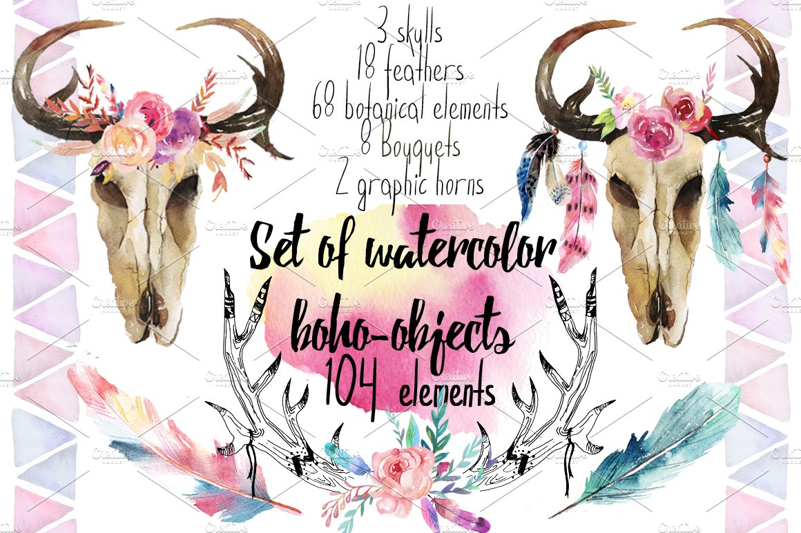 letter f video 20 watercolor 104 elements illustrations 22817 | boho obl