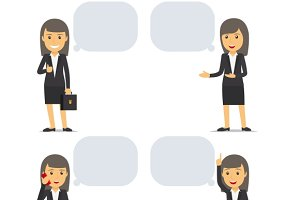Business woman with speech bubbles