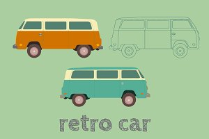 Retro cars in flat style. Vector