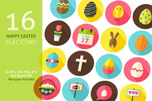 Happy Easter Vector Flat Icons
