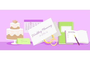Wedding Planning Design Flat Fashion