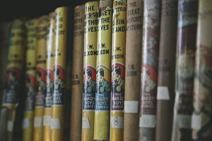 Vintage Books on Shelf