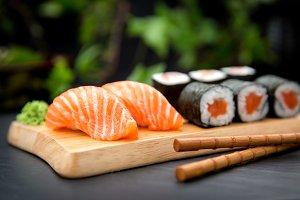 Sushi Nigiri with salmon and Maki